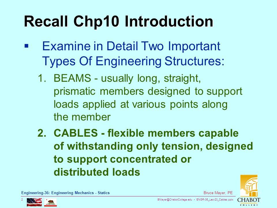 BMayer@ChabotCollege.edu ENGR-36_Lec-20_Cables.pptx 2 Bruce Mayer, PE Engineering-36: Engineering Mechanics - Statics Recall Chp10 Introduction Examin