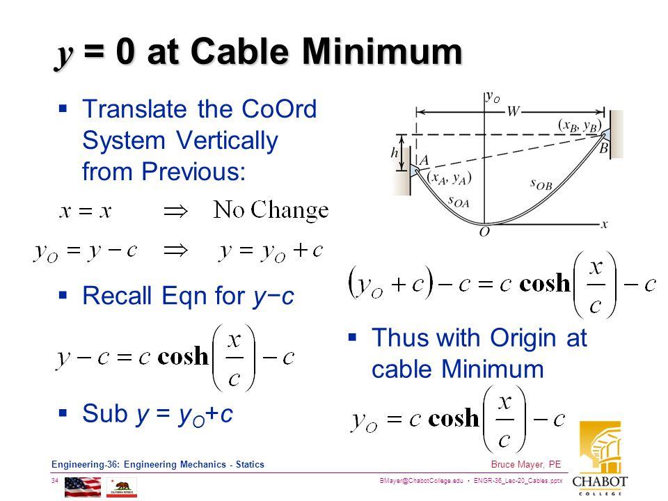 BMayer@ChabotCollege.edu ENGR-36_Lec-20_Cables.pptx 34 Bruce Mayer, PE Engineering-36: Engineering Mechanics - Statics y = 0 at Cable Minimum Translat