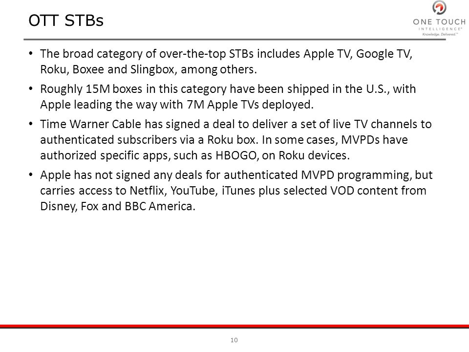 OTT STBs The broad category of over-the-top STBs includes Apple TV, Google TV, Roku, Boxee and Slingbox, among others. Roughly 15M boxes in this categ