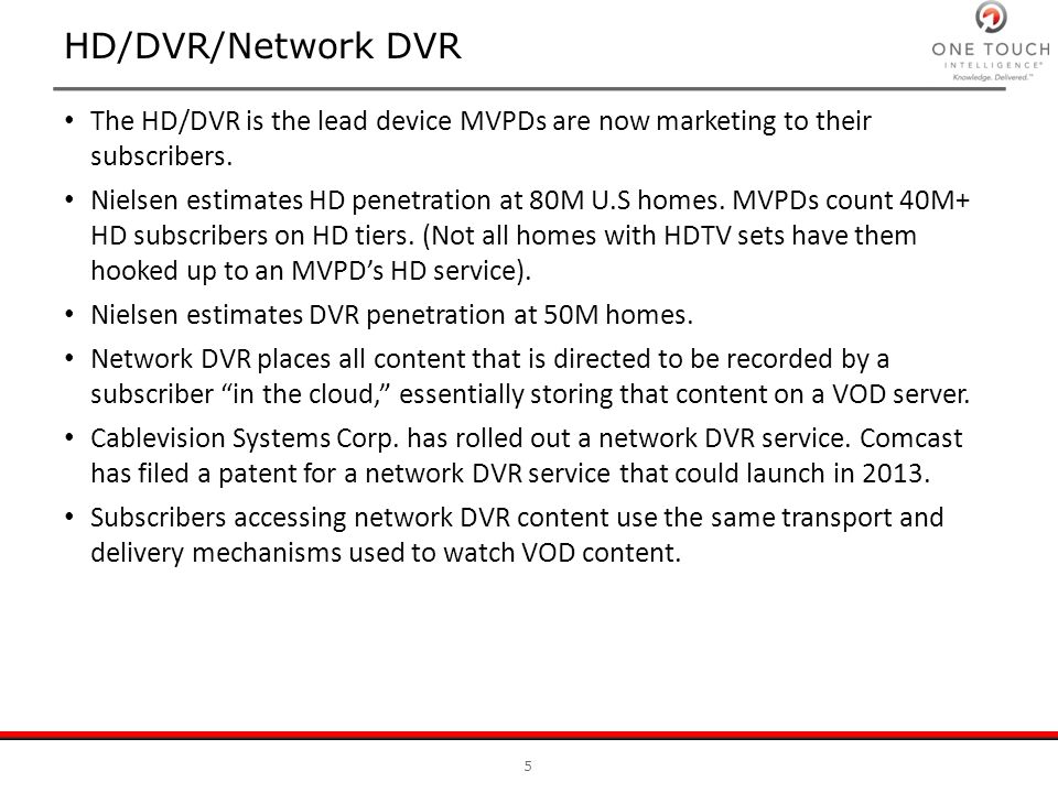 HD/DVR/Network DVR The HD/DVR is the lead device MVPDs are now marketing to their subscribers.