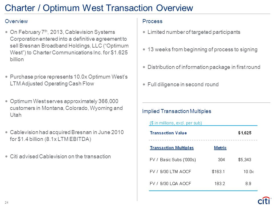 Charter / Optimum West Transaction Overview On February 7 th, 2013, Cablevision Systems Corporation entered into a definitive agreement to sell Bresna