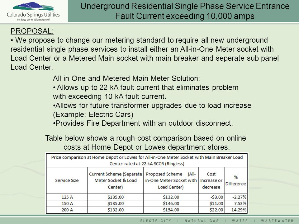 PROPOSAL: We propose to change our metering standard to require all new underground residential single phase services to install either an All-in-One Meter socket with Load Center or a Metered Main socket with main breaker and seperate sub panel Load Center.