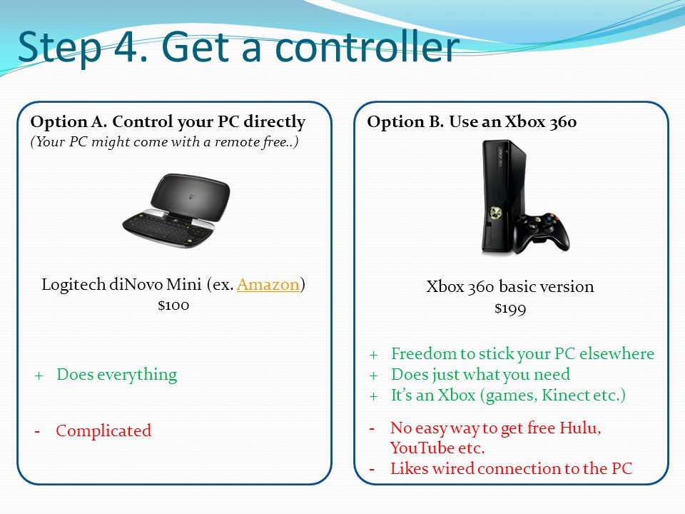 Step 4. Get a controller Option A. Control your PC directly (Your PC might come with a remote free..) Logitech diNovo Mini (ex. Amazon)Amazon $100 Opt