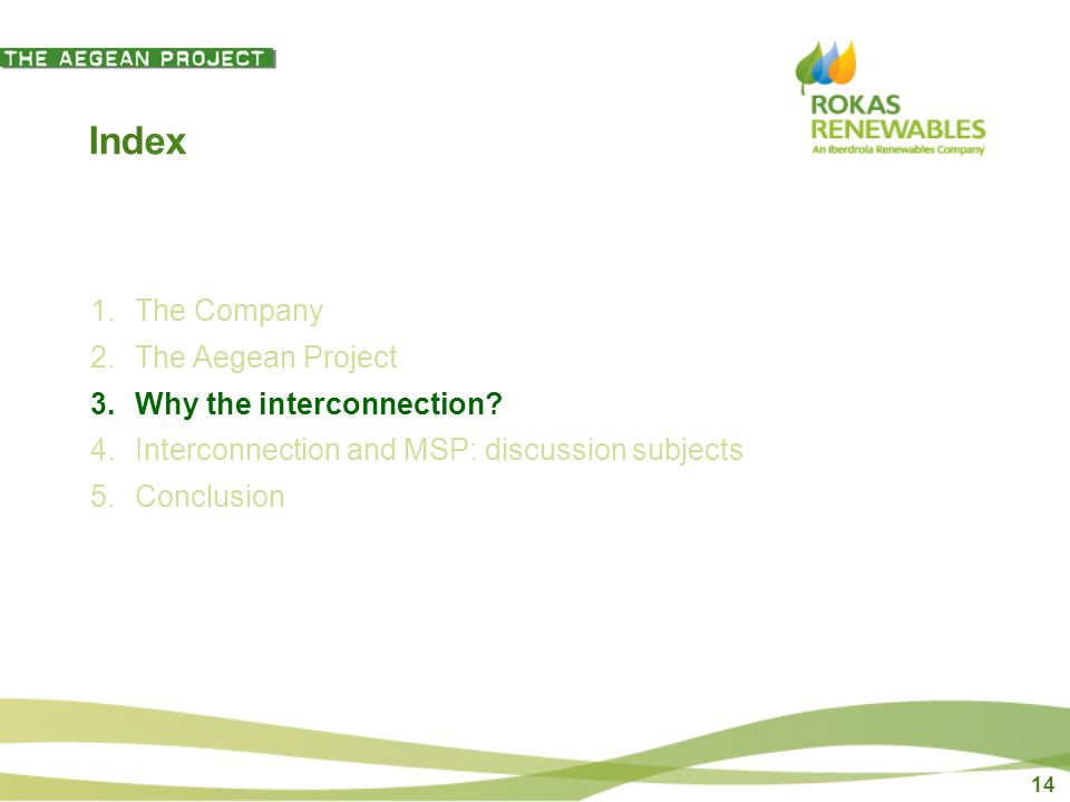 14 Index 1.The Company 2.The Aegean Project 3.Why the interconnection.