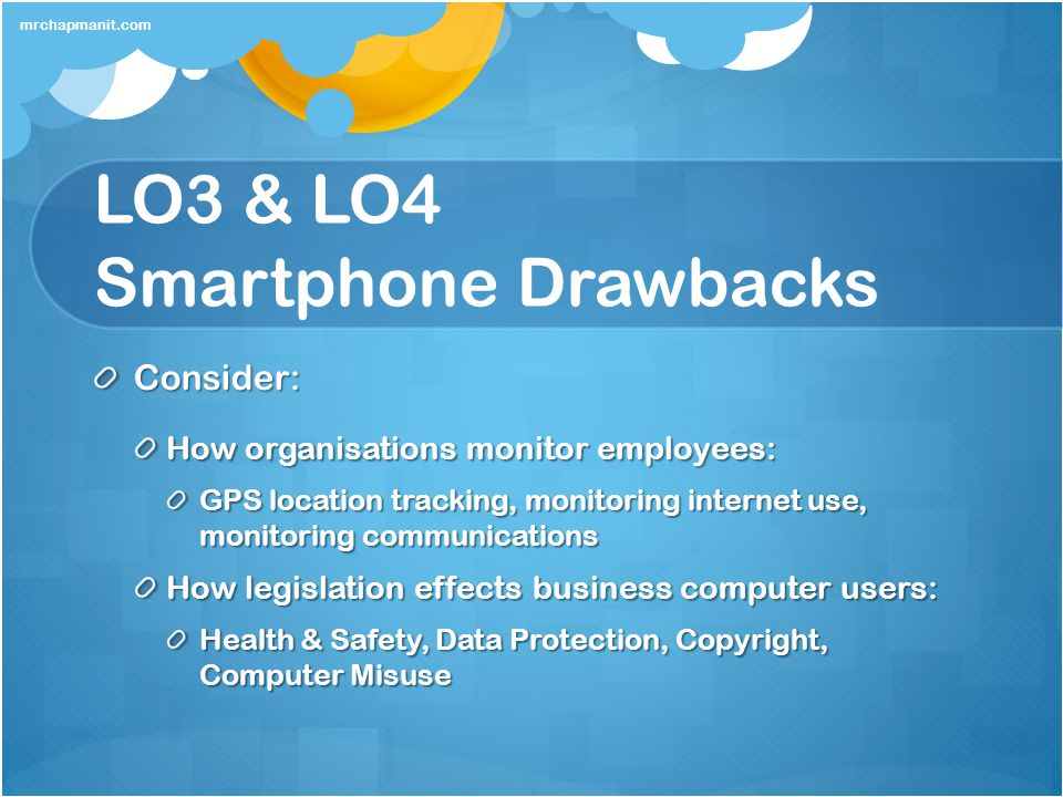 LO3 & LO4 Smartphone Drawbacks Consider: How organisations monitor employees: GPS location tracking, monitoring internet use, monitoring communication