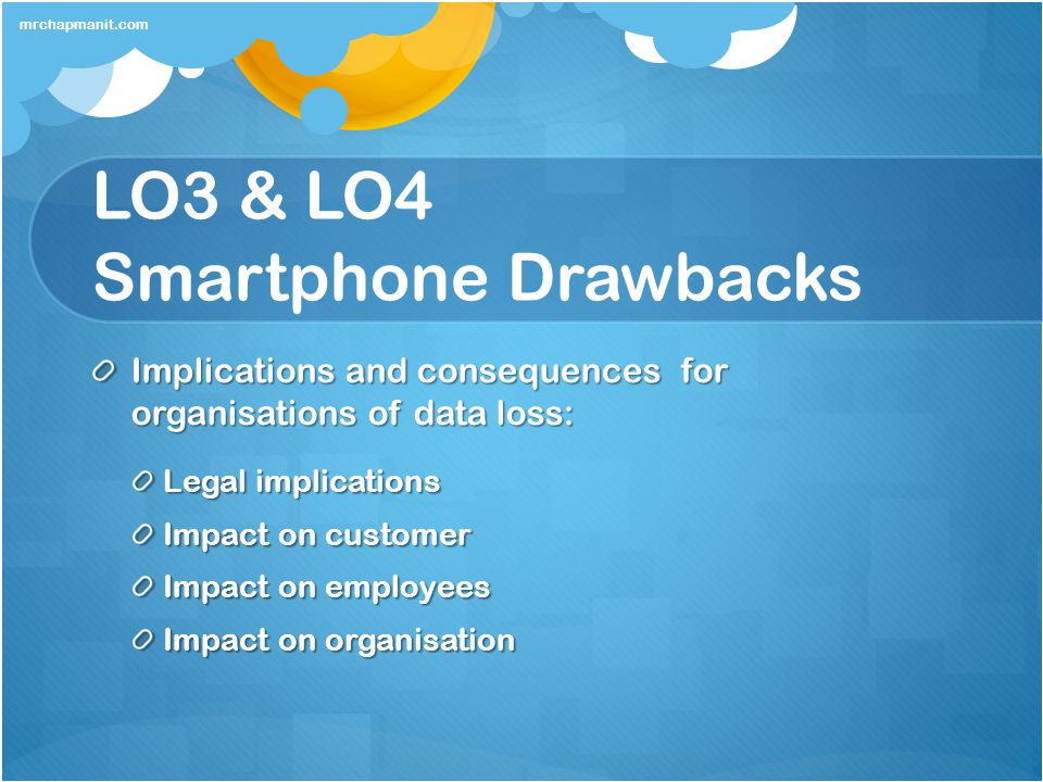 LO3 & LO4 Smartphone Drawbacks Implications and consequences for organisations of data loss: Legal implications Impact on customer Impact on employees