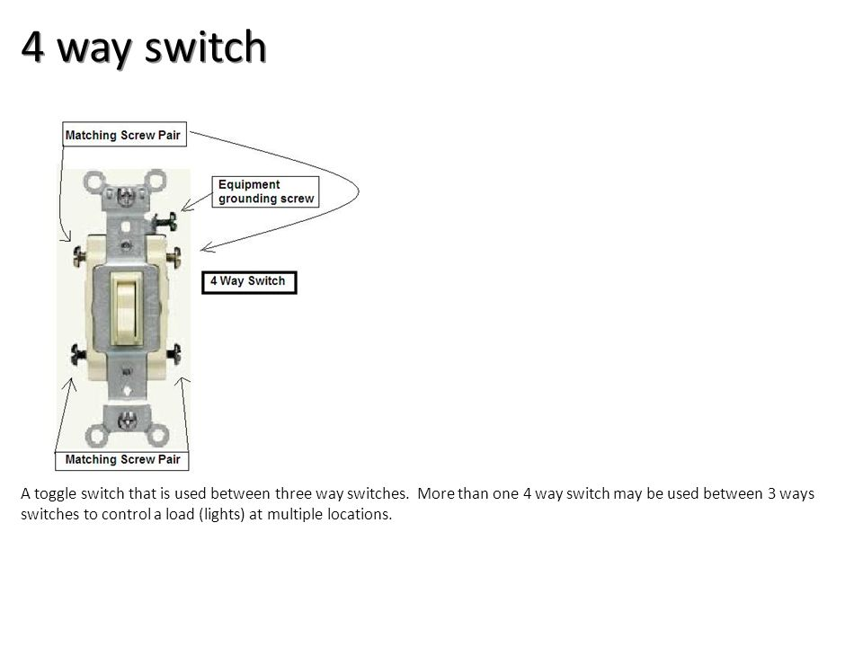 4 way switch A toggle switch that is used between three way switches. More than one 4 way switch may be used between 3 ways switches to control a load