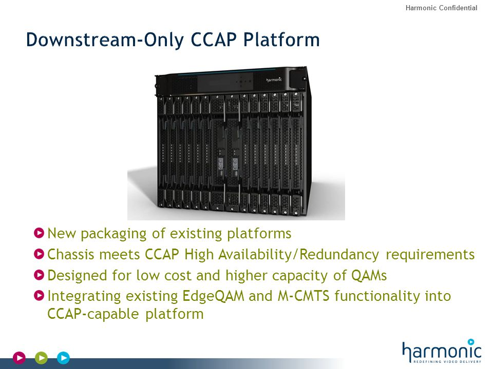 Harmonic Confidential New packaging of existing platforms Chassis meets CCAP High Availability/Redundancy requirements Designed for low cost and highe