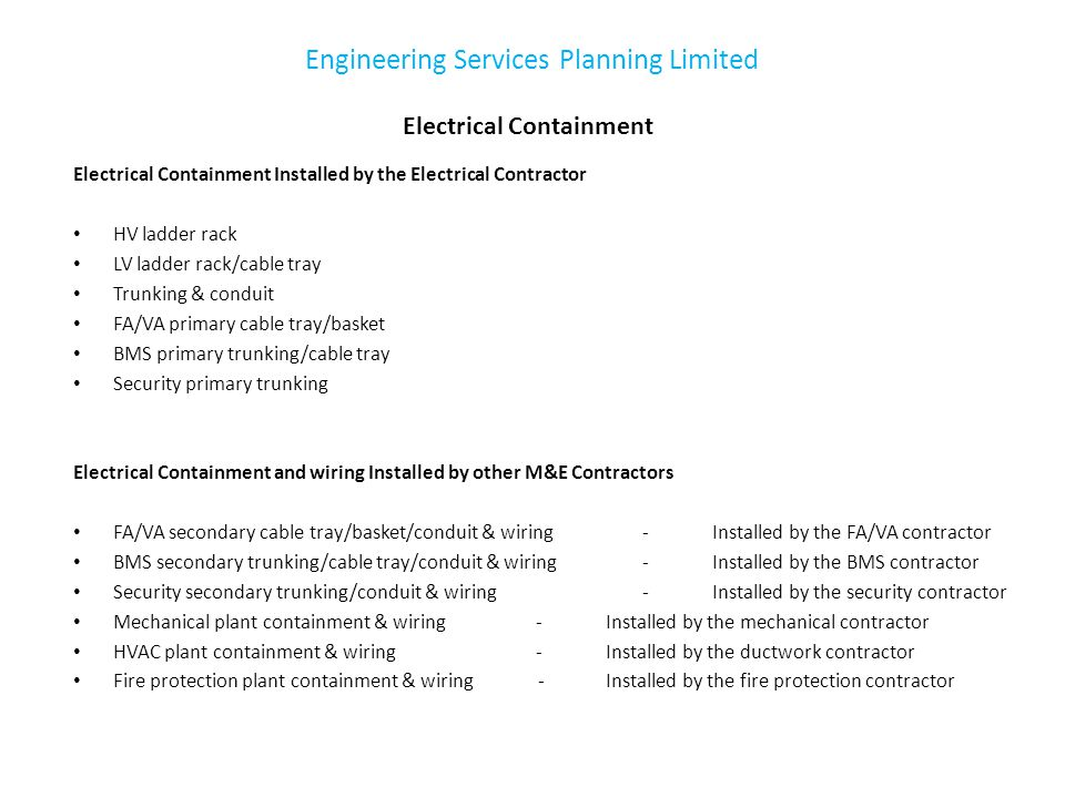 Part 2 – Coordinated Services When planning the coordinated installation of M&E building services the important factors to consider are: 1.Start on Site and Area Availability 2.Primary M&E Services Routes 3.Primary M&E Services Coordination M&E Services Risers – Topic of a further presentation M&E Plant and Switch Rooms – Topic of a further presentation hgh Engineering Services Planning Limited
