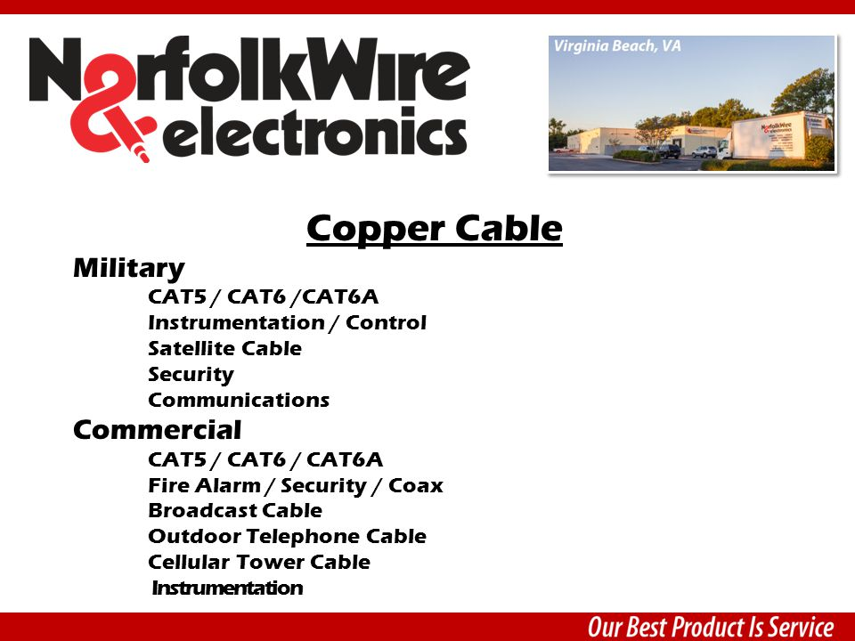 Copper Cable Military CAT5 / CAT6 /CAT6A Instrumentation / Control Satellite Cable Security Communications Commercial CAT5 / CAT6 / CAT6A Fire Alarm / Security / Coax Broadcast Cable Outdoor Telephone Cable Cellular Tower Cable Instrumentation