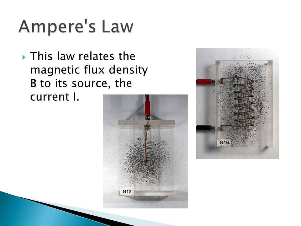 This law relates the magnetic flux density B to its source, the current I.