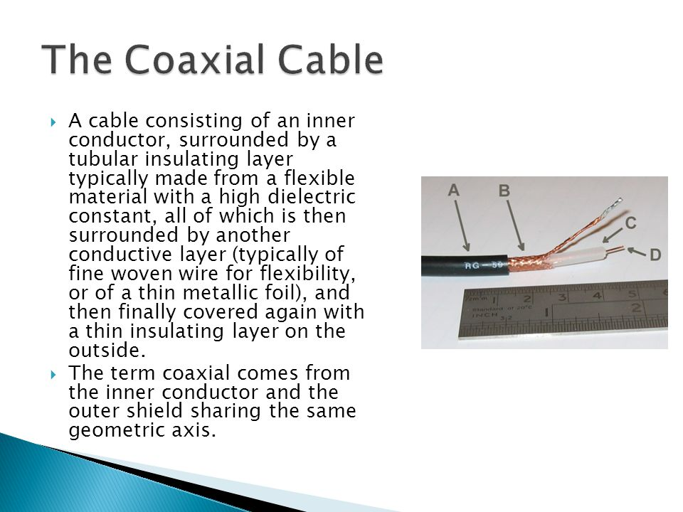A cable consisting of an inner conductor, surrounded by a tubular insulating layer typically made from a flexible material with a high dielectric cons