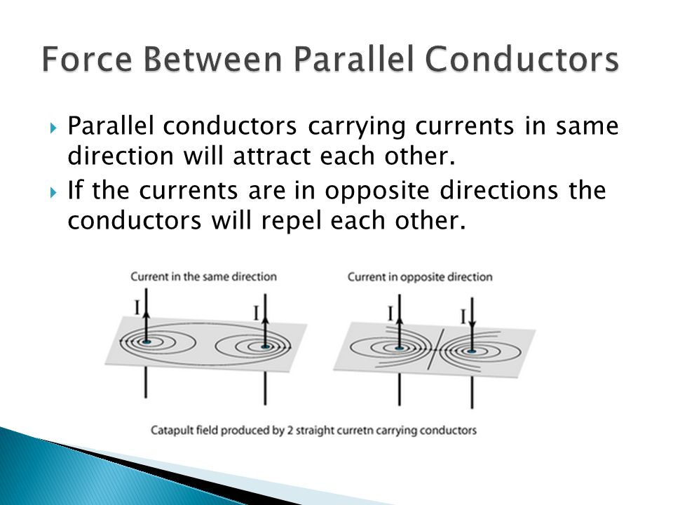 Parallel conductors carrying currents in same direction will attract each other. If the currents are in opposite directions the conductors will repel