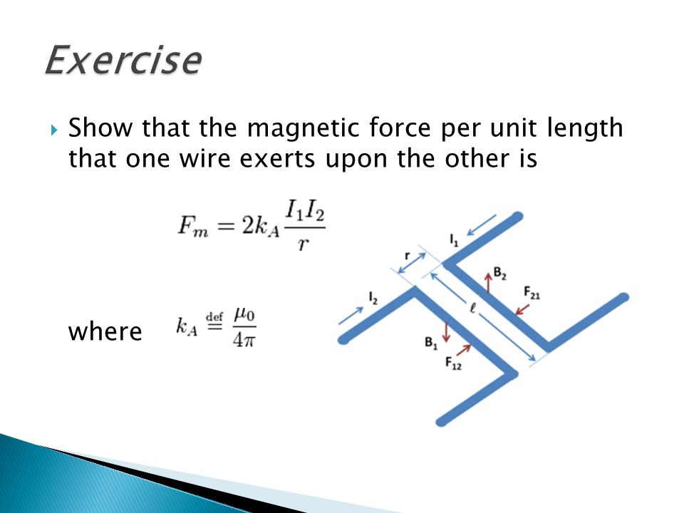 Show that the magnetic force per unit length that one wire exerts upon the other is where