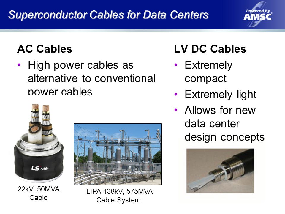 Advantages of LV Superconductor Cable * DC Power for Improved Data Center Efficiency, Lawrence Berkley National Laboratorys (LBNL), 2006, p60 No voltage drop frees up data center design (better floor space utilization) No electrical resistance reduces data center power consumption by up to 20% (losses and cooling) Small single cable reduces construction cost and time One 2 diameter, 1 lb/ft cable carries >4000A an unlimited distance with no voltage drop Superconductors offer significant advantages in data center applications