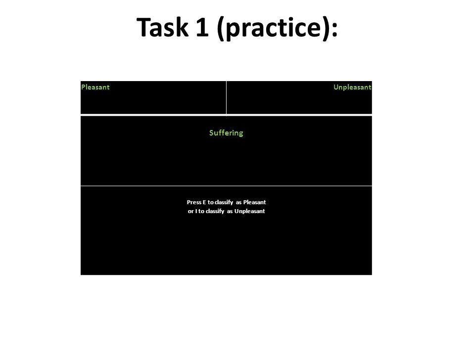 Task 1 (practice): PleasantUnpleasant Suffering Press E to classify as Pleasant or I to classify as Unpleasant
