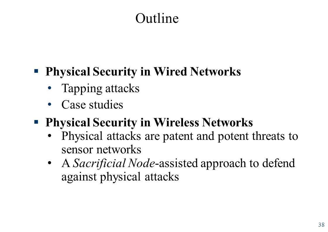 Outline 38 Physical Security in Wired Networks Tapping attacks Case studies Physical Security in Wireless Networks Physical attacks are patent and pot