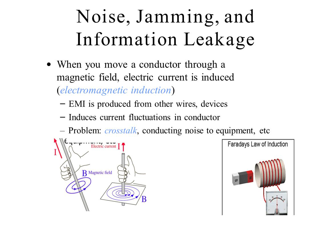 Noise, Jamming, and Information Leakage When you move a conductor through a magnetic field, electric current is induced (electromagnetic induction) –