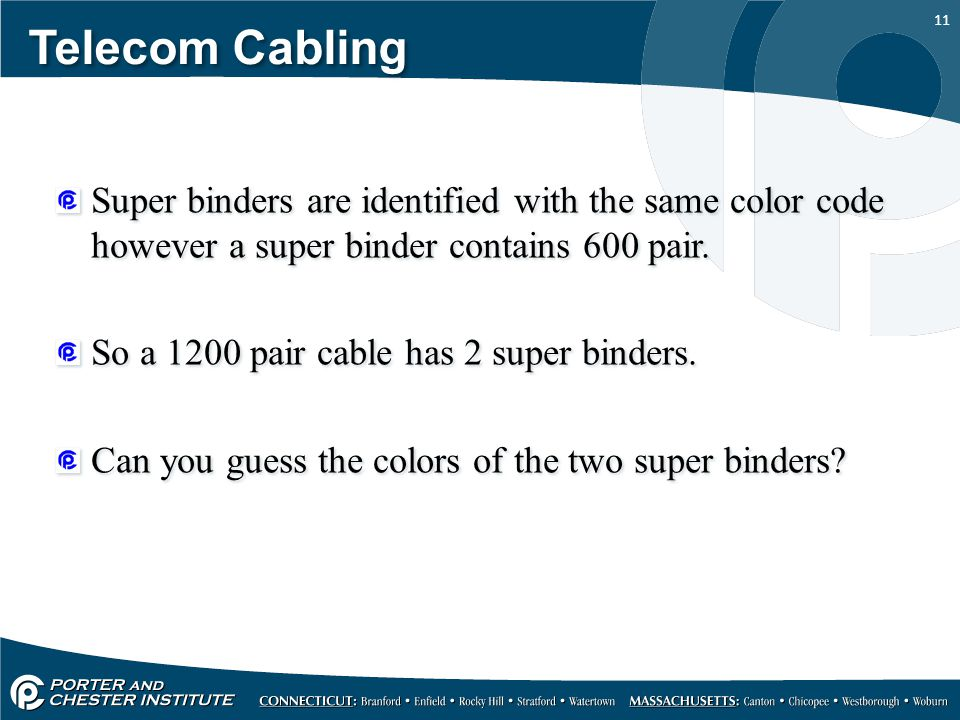 11 Telecom Cabling Super binders are identified with the same color code however a super binder contains 600 pair.