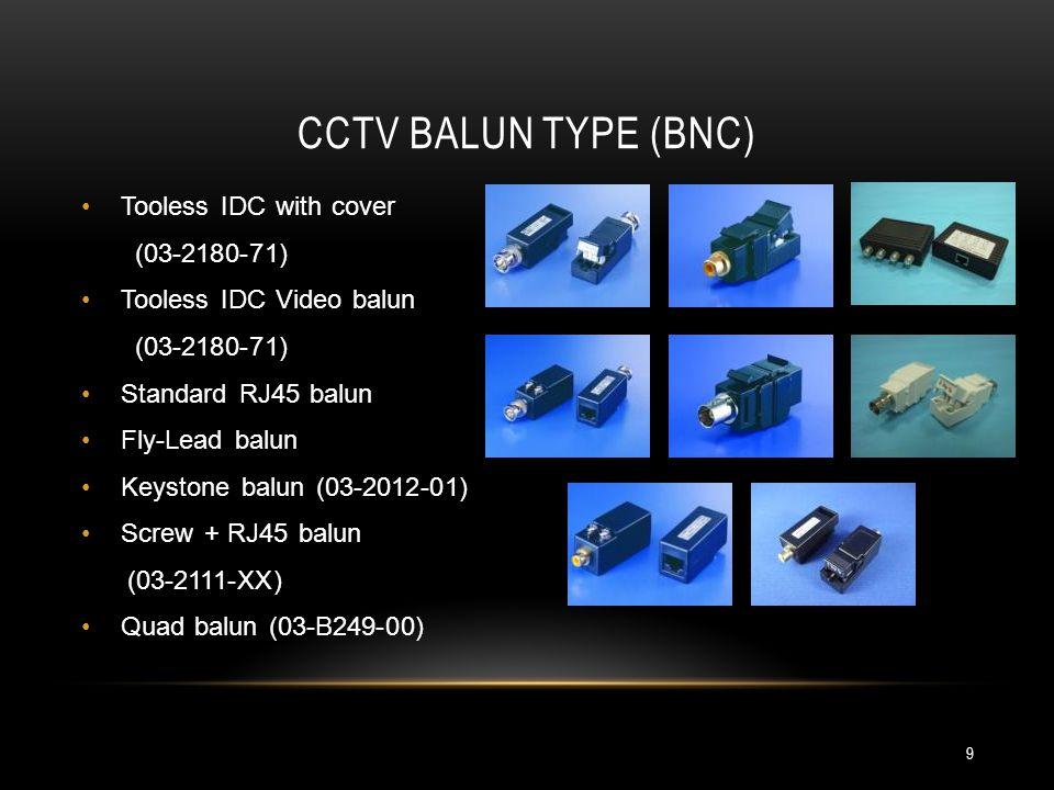 CCTV BALUN TYPE (BNC) Tooless IDC with cover (03-2180-71) Tooless IDC Video balun (03-2180-71) Standard RJ45 balun Fly-Lead balun Keystone balun (03-2