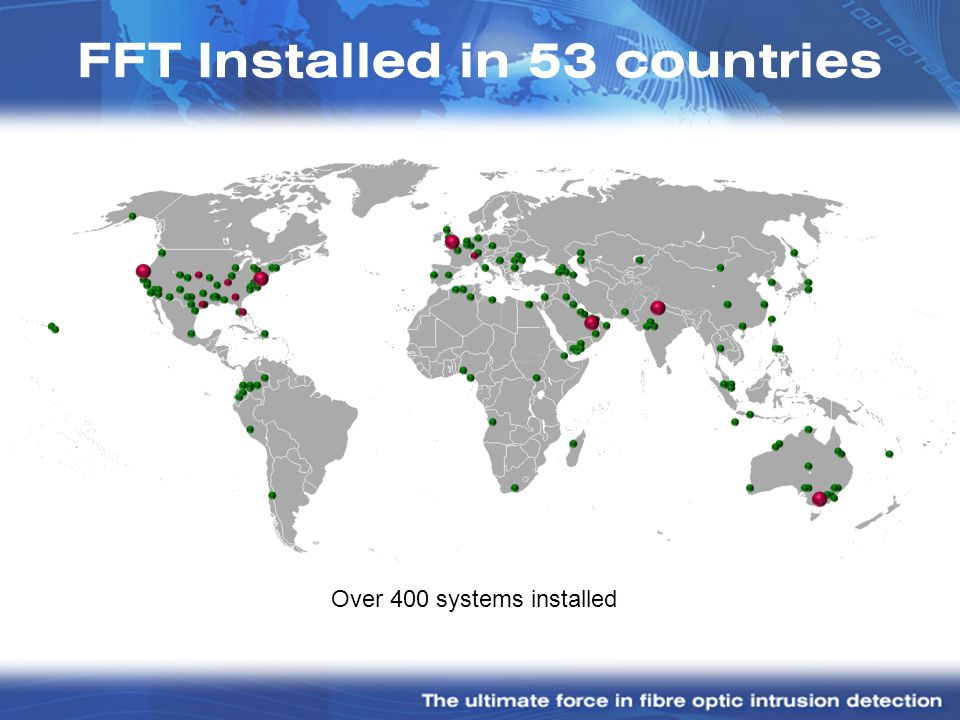 FFT Installed in 53 countries Over 400 systems installed