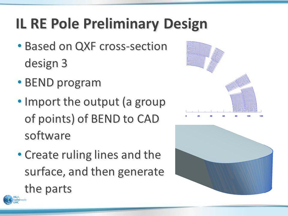 IL RE Pole Preliminary Design Based on QXF cross-section design 3 Based on QXF cross-section design 3 BEND program BEND program Import the output (a g
