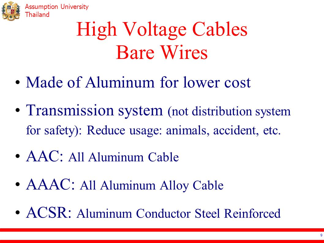 Assumption University Thailand Cable Selection – Examples Water Heater 6kW –in Air or in Metal Conduit Microwave 2,300VA Industrial Heater 40kW, 400V 3phase –40 o C or 50 o C 40