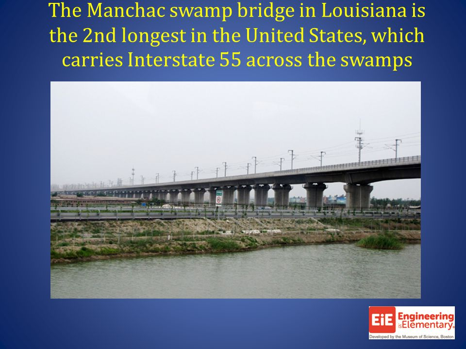 The Manchac swamp bridge in Louisiana is the 2nd longest in the United States, which carries Interstate 55 across the swamps