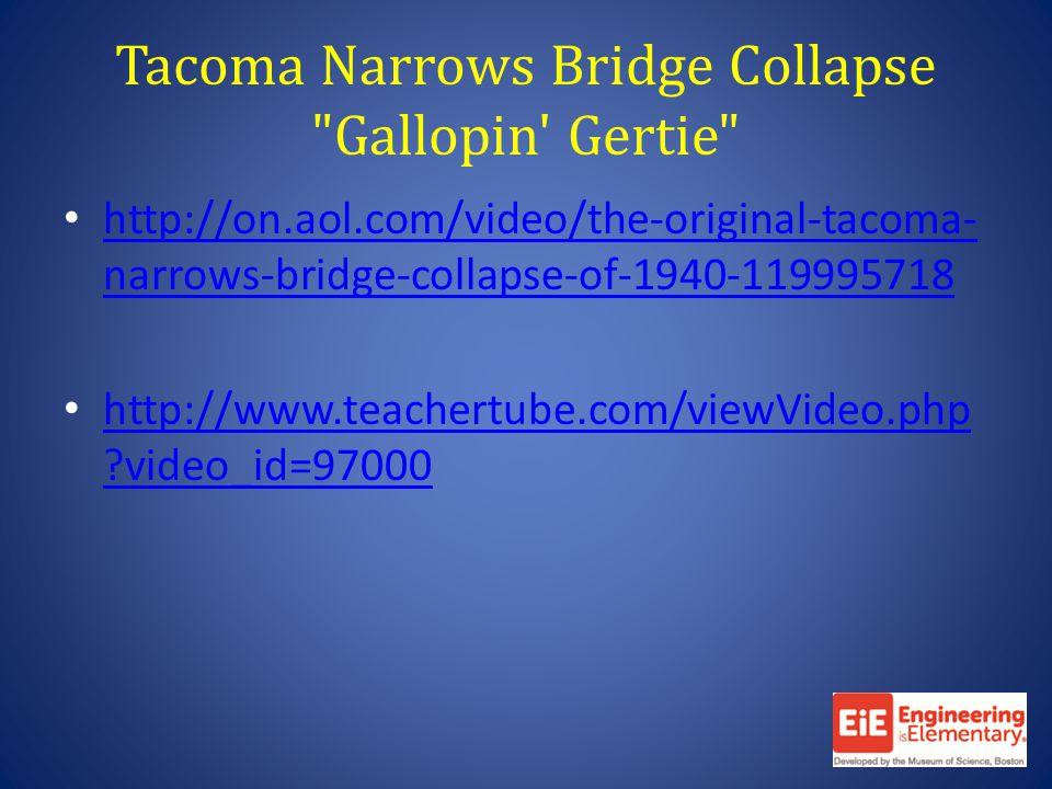 Tacoma Narrows Bridge Collapse Gallopin Gertie http://on.aol.com/video/the-original-tacoma- narrows-bridge-collapse-of-1940-119995718 http://on.aol.com/video/the-original-tacoma- narrows-bridge-collapse-of-1940-119995718 http://www.teachertube.com/viewVideo.php video_id=97000 http://www.teachertube.com/viewVideo.php video_id=97000