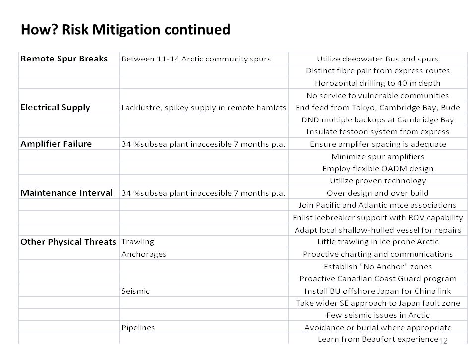 How Risk Mitigation continued 12
