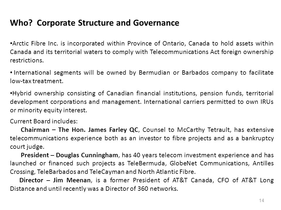 14 Who. Corporate Structure and Governance Arctic Fibre Inc.