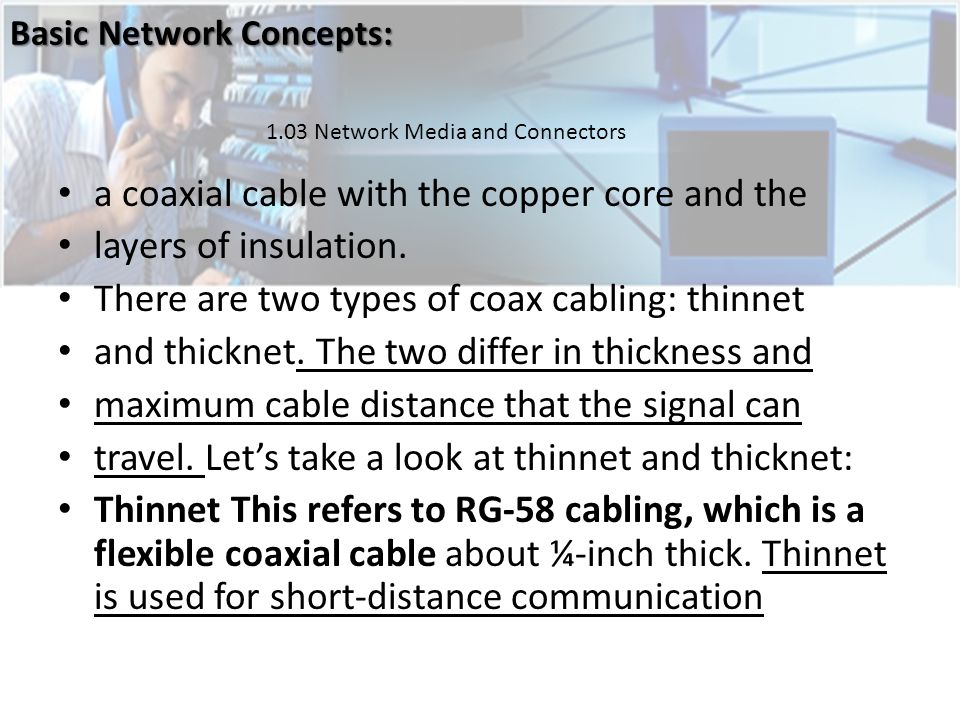 a coaxial cable with the copper core and the layers of insulation.