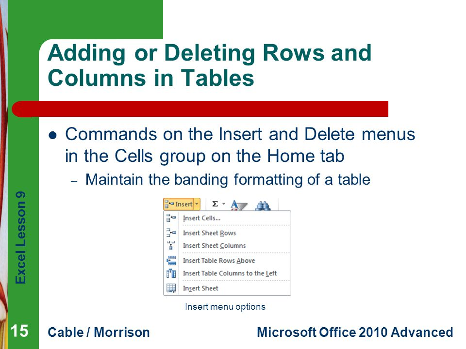 Excel Lesson 9 Cable / MorrisonMicrosoft Office 2010 Advanced Adding or Deleting Rows and Columns in Tables Commands on the Insert and Delete menus in