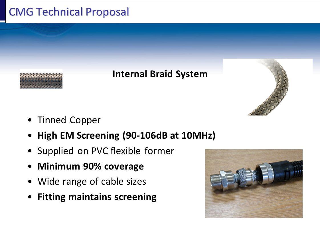CMG Technical Proposal Internal Braid System Tinned Copper High EM Screening (90-106dB at 10MHz) Supplied on PVC flexible former Minimum 90% coverage