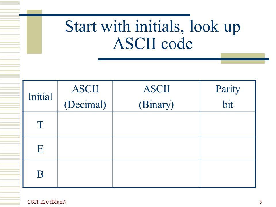 CSIT 220 (Blum) 4 ASCII for T 84 (in decimal)