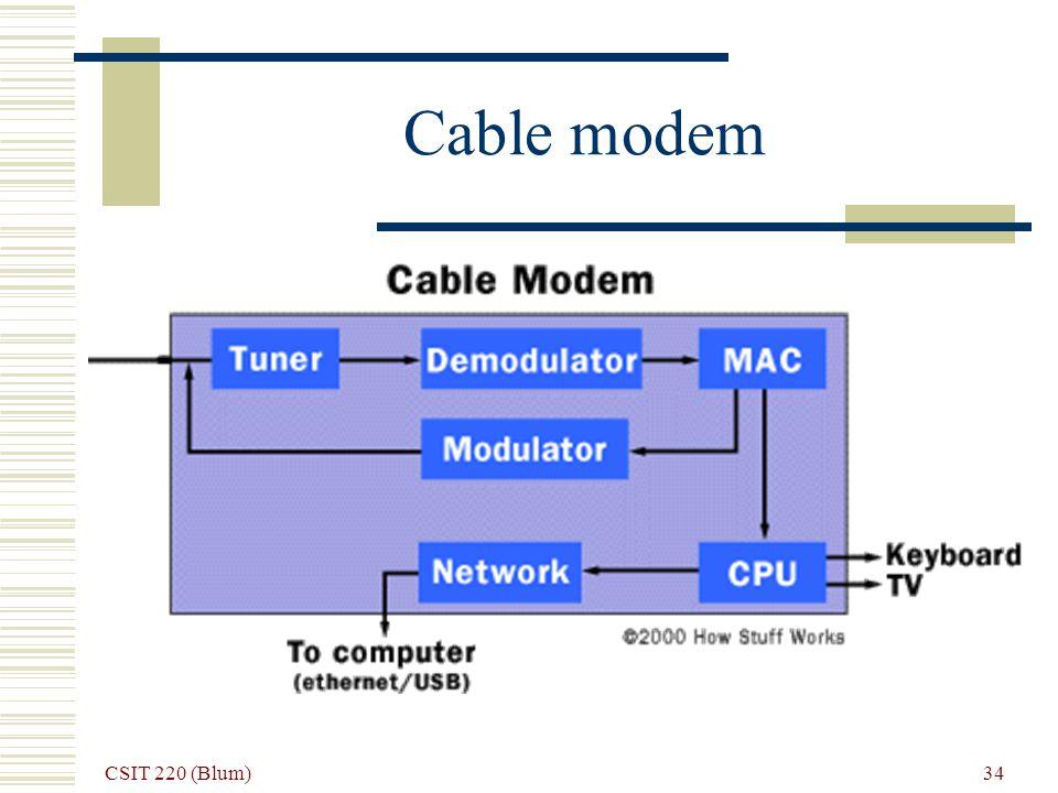CSIT 220 (Blum) 34 Cable modem