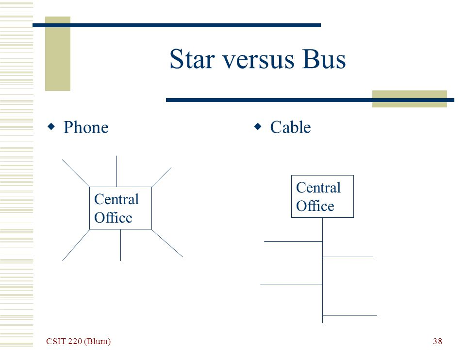 CSIT 220 (Blum) 38 Star versus Bus Phone Cable Central Office