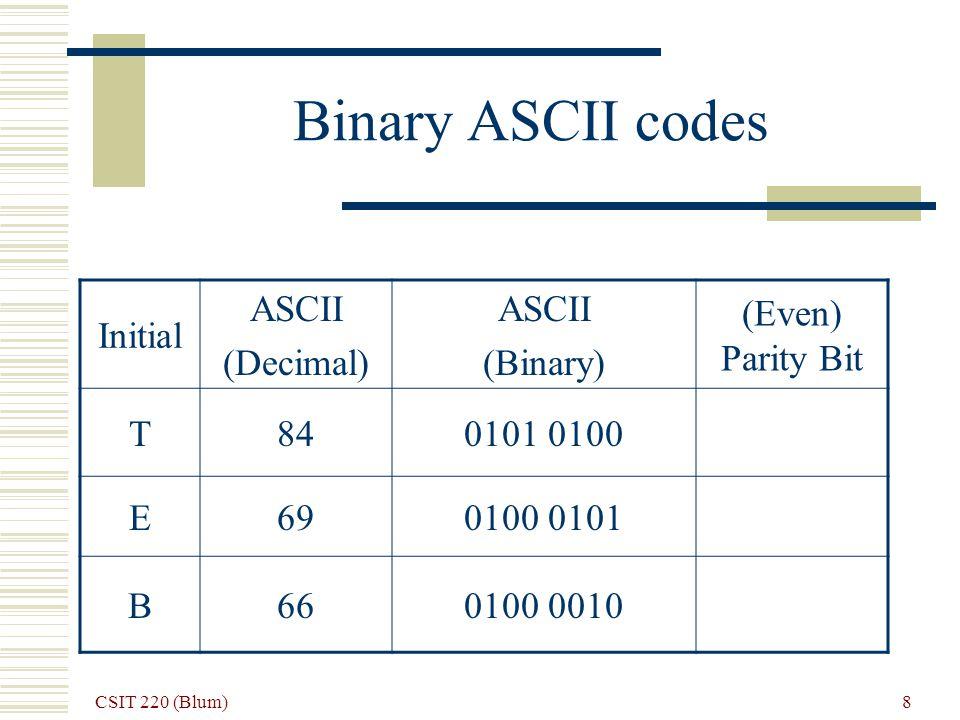 CSIT 220 (Blum) 9 Add in even parity bit Initial ASCII (Decimal) ASCII (Binary) (Even) Parity Bit T84 0101 0100 (odd number of 1s) 1 E69 0100 0101 (odd number of 1s) 1 B66 0100 0010 (even number of 1s) 0