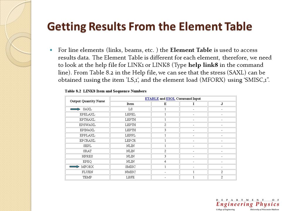 Element Table Continued From the General Postprocessor menu select Element Table >Define Table Click on Add... Type in a label (I used stress) Scroll down through the items and select by sequence number Select LS and then type 1 after LS, and hit apply In a similar manner, add an entry for the element forces (SMISC,1) These items may now be plotted or listed
