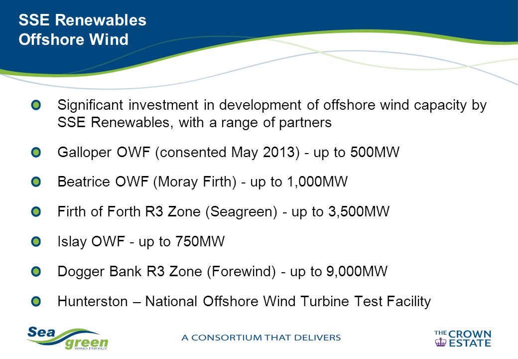 SSE Renewables Offshore Wind Significant investment in development of offshore wind capacity by SSE Renewables, with a range of partners Galloper OWF