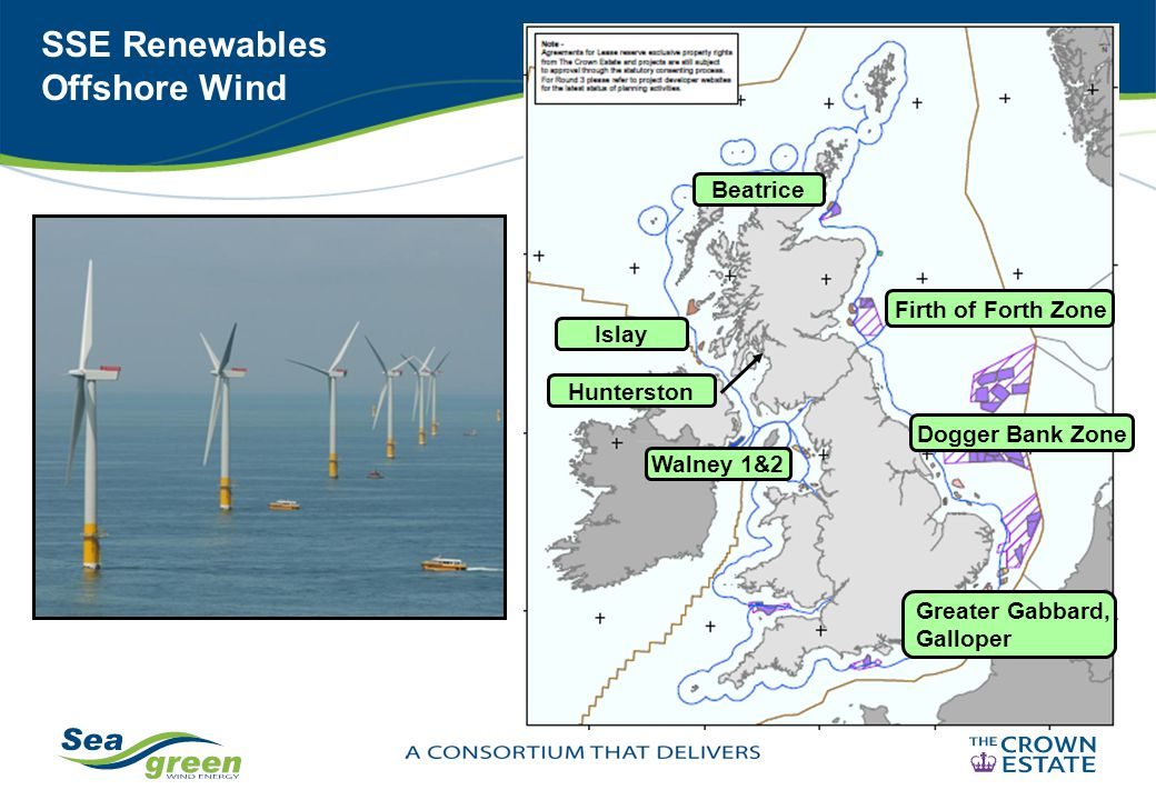 SSE Renewables Offshore Wind Beatrice Walney 1&2 Islay Firth of Forth Zone Dogger Bank Zone Greater Gabbard, Galloper Hunterston