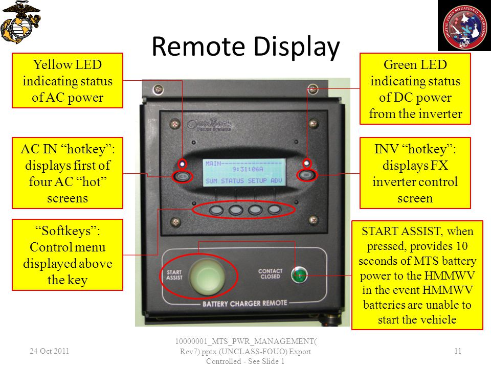 Remote Display 24 Oct 2011 10000001_MTS_PWR_MANAGEMENT( Rev7).pptx (UNCLASS-FOUO) Export Controlled - See Slide 1 11 AC IN hotkey: displays first of f