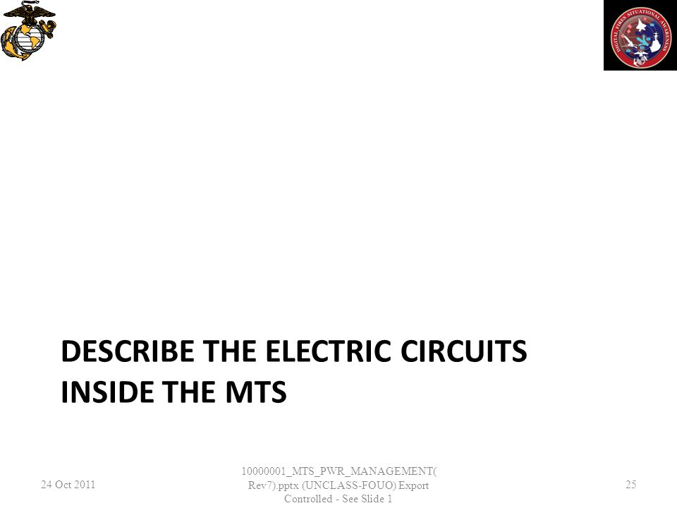 DESCRIBE THE ELECTRIC CIRCUITS INSIDE THE MTS 24 Oct 2011 10000001_MTS_PWR_MANAGEMENT( Rev7).pptx (UNCLASS-FOUO) Export Controlled - See Slide 1 25