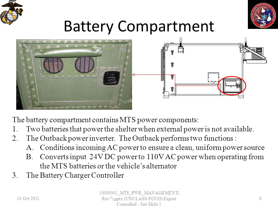 Battery Compartment 24 Oct _MTS_PWR_MANAGEMENT( Rev7).pptx (UNCLASS-FOUO) Export Controlled - See Slide 1 8 The battery compartment contains MTS power components: 1.Two batteries that power the shelter when external power is not available.