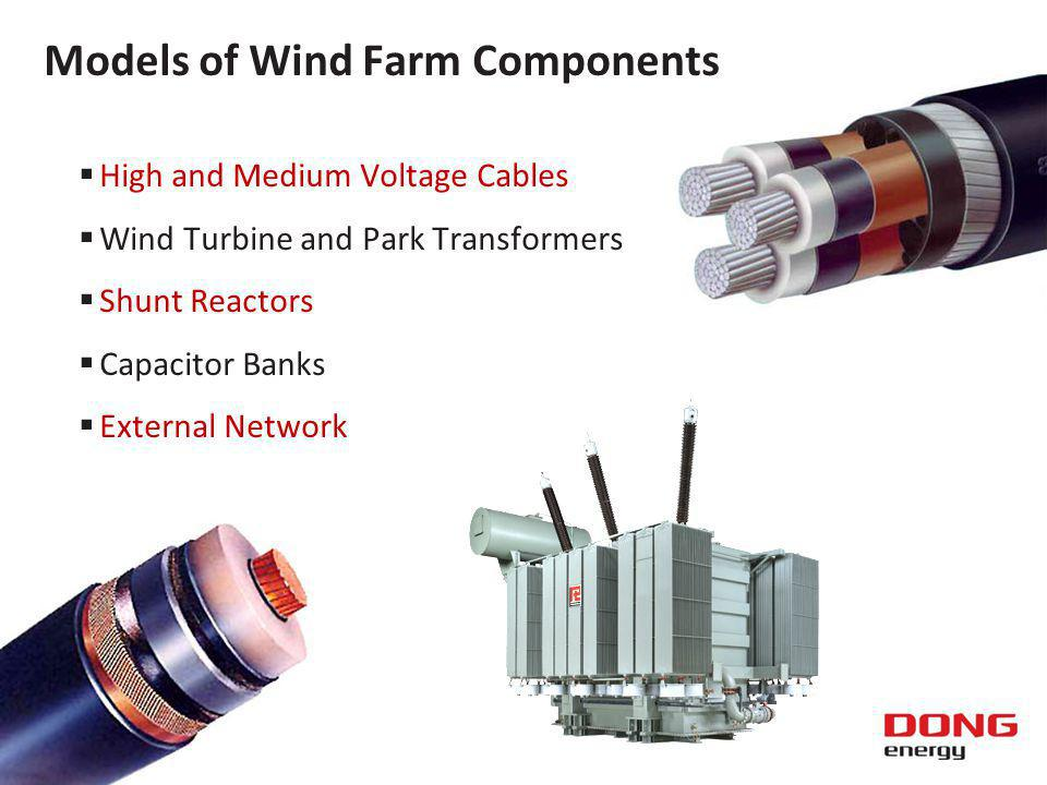 High and Medium Voltage Cables Wind Turbine and Park Transformers Shunt Reactors Capacitor Banks External Network Models of Wind Farm Components