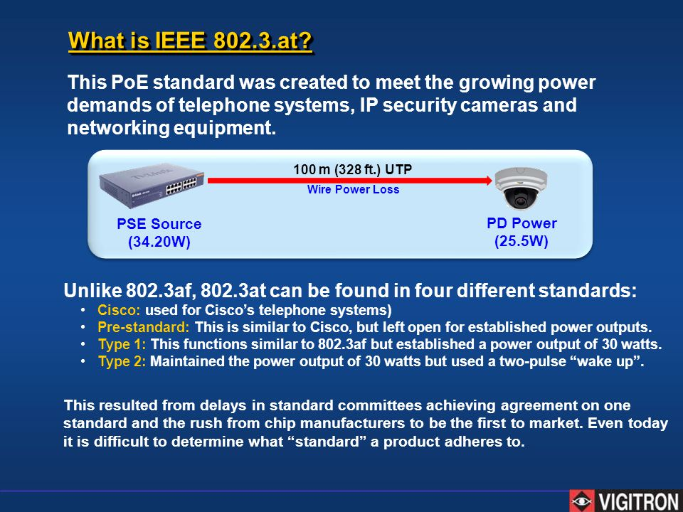 This PoE standard was created to meet the growing power demands of telephone systems, IP security cameras and networking equipment. PSE Source (34.20W