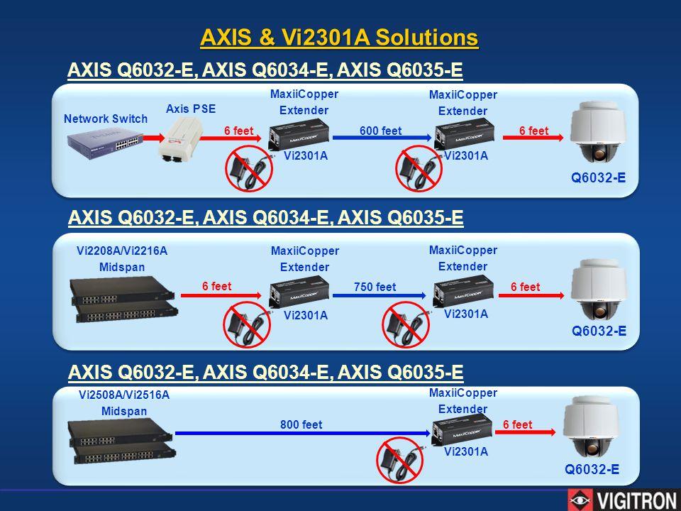 AXIS Q6032-E, AXIS Q6034-E, AXIS Q6035-E Vi2208A/Vi2216A Midspan MaxiiCopper Extender MaxiiCopper Extender 6 feet 750 feet Axis PSE MaxiiCopper Extend