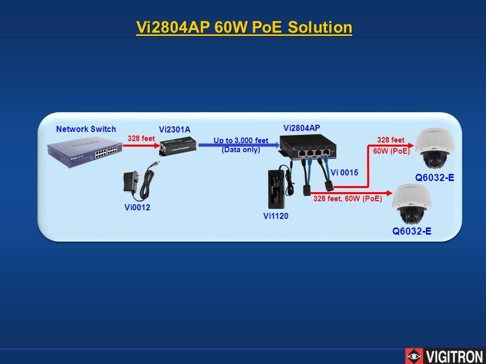 Vi2804AP 60W PoE Solution Up to 3,000 feet (Data only) Vi2301A Vi 0015 Network Switch 328 feet 328 feet, 60W (PoE) Vi2804AP Vi1120 60W (PoE) Vi0012 Q6
