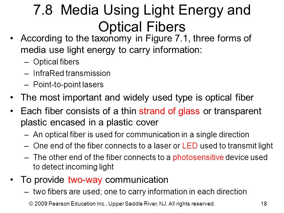 © 2009 Pearson Education Inc., Upper Saddle River, NJ. All rights reserved.18 7.8 Media Using Light Energy and Optical Fibers According to the taxonom