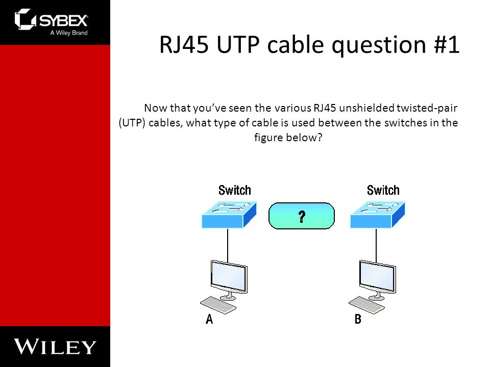 RJ45 UTP cable question #1 Now that youve seen the various RJ45 unshielded twisted-pair (UTP) cables, what type of cable is used between the switches in the figure below?